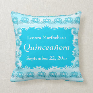 Turquoise Blue Carriages Quinceanera Throw Pillow
