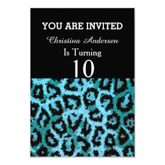 Turquoise Blue Cheetah Abstract Pattern Card