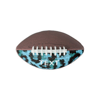 Turquoise Blue Cheetah Abstract Pattern Football