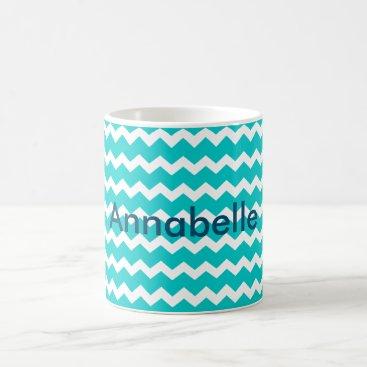 Coffee Themed Turquoise Blue Chevron Coffee Mug