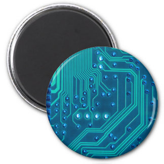 Turquoise Blue Circuit Board - Electronic Print 2 Inch Round Magnet