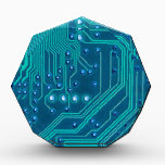 """Turquoise Blue Circuit Board - Electronic Print Award<br><div class=""""desc"""">Perfect for the electronics lovers and tech savvy people of the world!  Features a turquoise on blue background circuit board.</div>"""