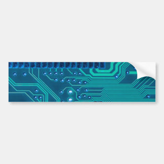 Turquoise Blue Circuit Board - Electronic Print Bumper Sticker
