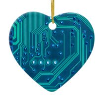 Turquoise Blue Circuit Board - Electronic Print Ceramic Ornament