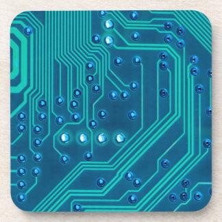 Turquoise Blue Circuit Board - Electronic Print Coaster