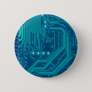 Turquoise Blue Circuit Board - Electronic Print Pinback Button