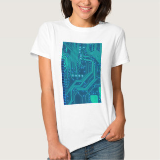 Turquoise Blue Circuit Board - Electronic Print T-shirt