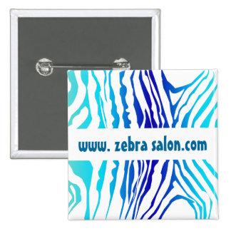 Turquoise Blue Classy Zebra Pattern Professional Pinback Button