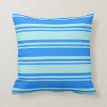 [ Thumbnail: Turquoise & Blue Colored Pattern of Stripes Pillow ]