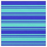 [ Thumbnail: Turquoise & Blue Colored Striped Pattern Fabric ]