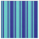 [ Thumbnail: Turquoise & Blue Colored Stripes/Lines Pattern Fabric ]