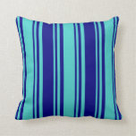 [ Thumbnail: Turquoise & Blue Colored Stripes/Lines Pattern Throw Pillow ]