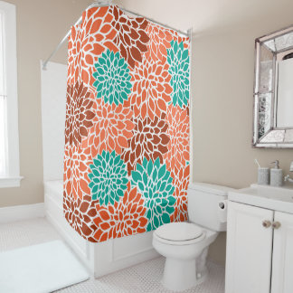 Turquoise Blue Coral And Bronze Flower Collage Shower Curtain