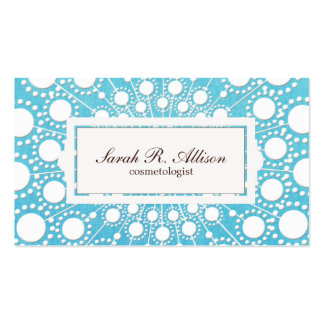 Turquoise Blue Cosmetologist Embossed Linen Look Business Cards