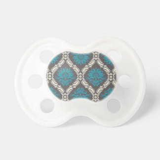 turquoise blue cream and brown lovely damask pacifier