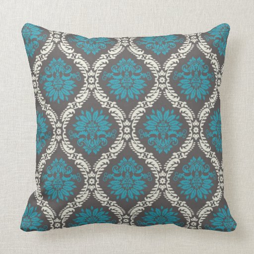 turquoise blue cream and brown lovely damask throw pillows Zazzle