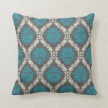turquoise blue cream and brown lovely damask throw pillows