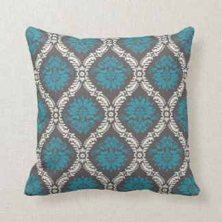 turquoise blue cream and brown lovely damask throw pillow