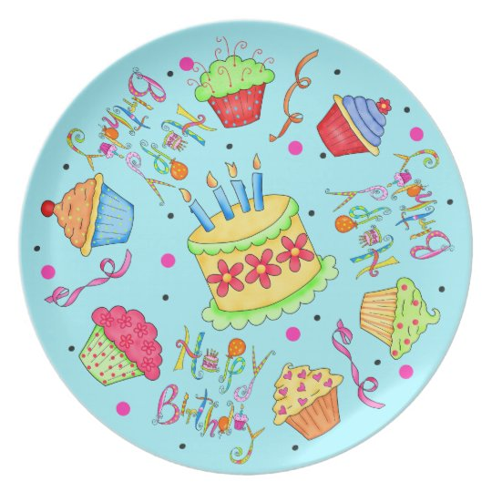 Turquoise Blue Cupcakes and Cake Happy Birthday Dinner Plate