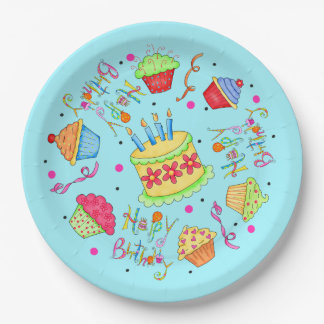 Turquoise Blue Cupcakes and Cake Happy Birthday 9 Inch Paper Plate