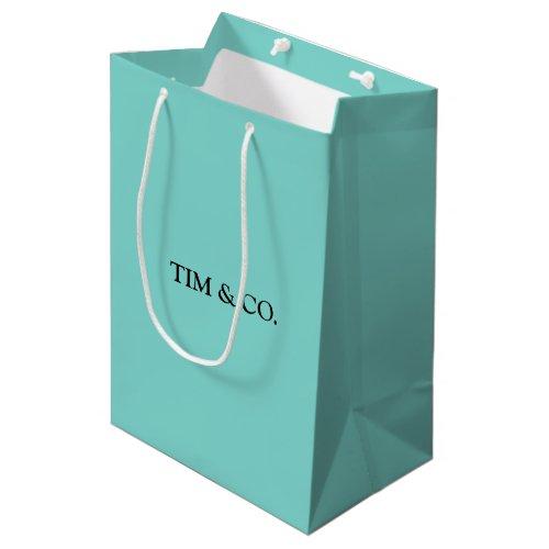 TURQUOISE BLUE CUSTOM CUSTOMIZABLE MEDIUM GIFT BAG