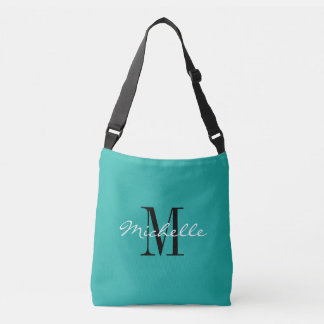 Turquoise blue custom monogram cross body bag
