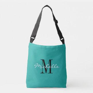 Turquoise blue custom monogram cross body bag tote bag
