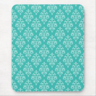 Turquoise Blue Damask Mouse Pad