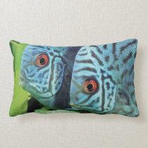 Turquoise Blue Discus Lumbar Pillow