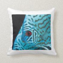 Turquoise Blue Discus Throw Pillow