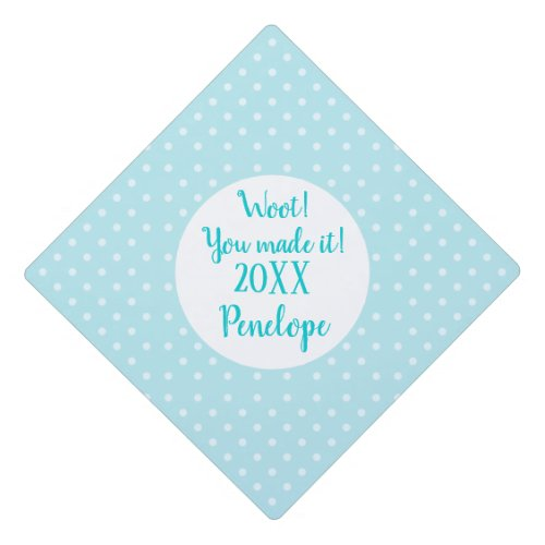 Turquoise Blue Dots Pattern Grad Name and Date Graduation Cap Topper