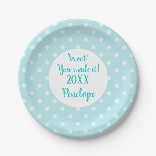Turquoise Blue Dots Pattern Grad Name and Date Paper Plate