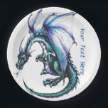 "Turquoise blue Dragon Party Paper Products Paper Plate<br><div class=""desc"">Turquoise blue Dragon Party Paper Products that you can personalize the text. Paper products make throwing a party much easier and fast to clean up. Birthday party or just for fun and laughs. These are popular dragon design paper products for kids entertainment. Some ot the best paper products can be...</div>"