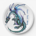Turquoise blue Dragon Party Paper Products Paper Plate