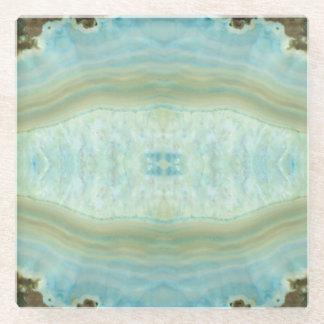 Turquoise Blue Ecru Agate Gemstone Crystal Pattern Glass Coaster