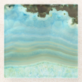 Turquoise Blue Ecru Agate Geode Crystal Patterns Glass Coaster