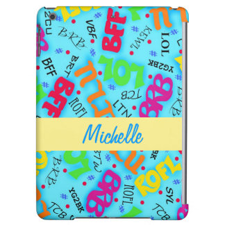 Turquoise Blue Electronic Texting Art Abbreviation Cover For iPad Air