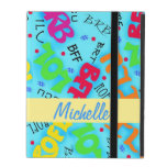Turquoise Blue Electronic Texting Art Abbreviation iPad Folio Cases