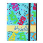 Turquoise Blue Electronic Texting Art Abbreviation iPad Folio Cases