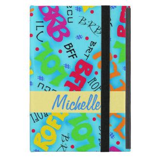 Turquoise Blue Electronic Texting Art Abbreviation iPad Mini Case