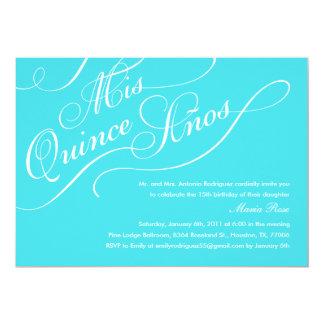 Turquoise Blue Elegant Quinceanera Invitations