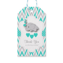 Turquoise Blue Elephant Baby Shower Thank You Gift Tags
