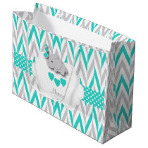 Turquoise Blue Elephant Design - Baby Boy Shower Large Gift Bag