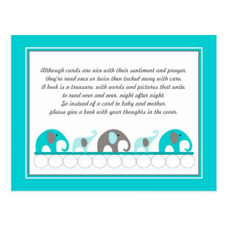 Turquoise blue Elephants Insert Book Baby Shower Postcard