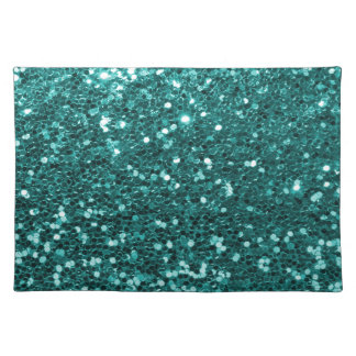 Turquoise Blue Faux Glitter Print Aqua Teal Cloth Placemat