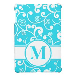 Turquoise Blue Filigree Scroll with Monogram iPad Mini Cases