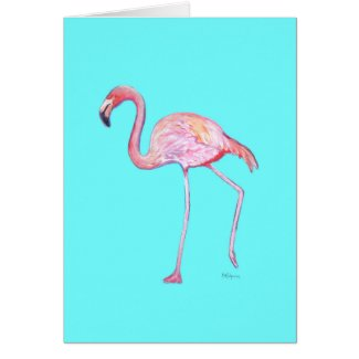 Turquoise Blue Flamingo Notecard