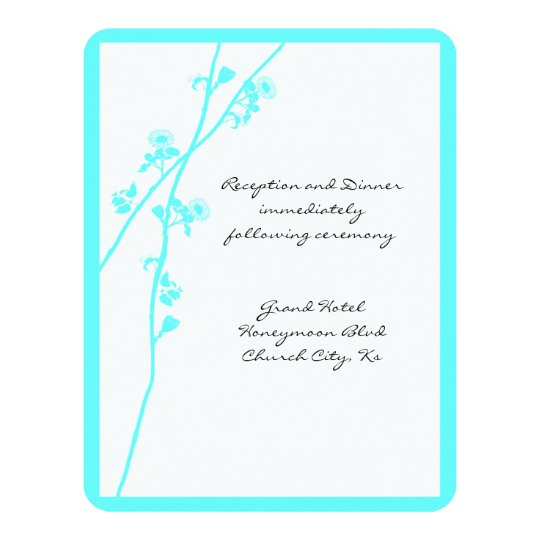 Turquoise Blue Floral Branch Wedding Reception Card