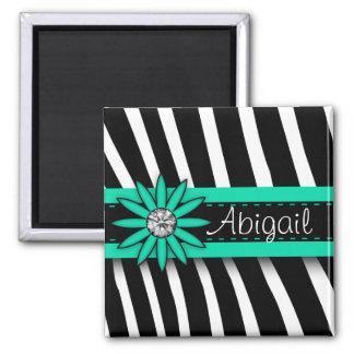 Turquoise Blue Floral Gem & Zebra Pattern 2 Inch Square Magnet