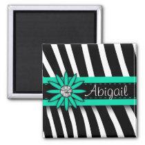 Turquoise Blue Floral Gem & Zebra Pattern Magnet